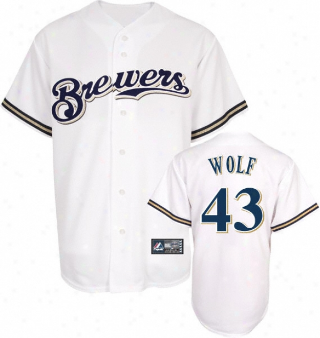 Randy Wolf Jersey: Adult Majestic Home White Rwplica #43 Milwaukee Brewers Jersey