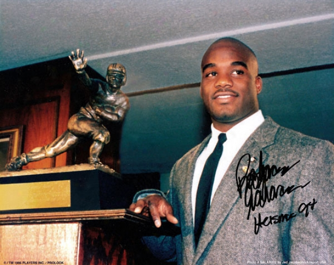 Rashaan Salaam Colorado Buffaloes Autographed 8x10 Holding Trophy Photo W/ Inscription &quotheisman 94&quot