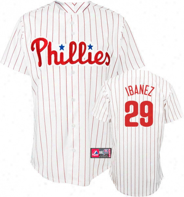 Raul Ibanez Jersey: Adult Majestic Home Pinstripe Replica #29 Philadelphia Phillies Jersey