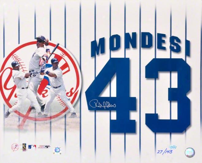 Raul Mondesi New York Yankees Autographed Collaeg Photograph
