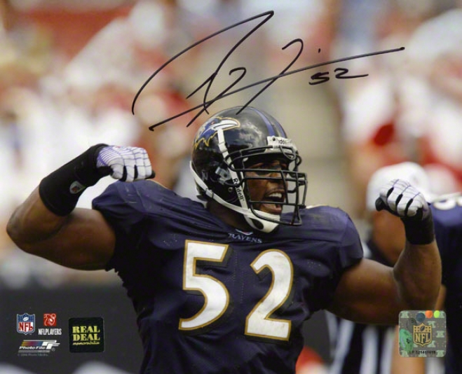 Ray Lewis Autographed Photograph  Details: Baltimore Ravens, Flexing, 8x10