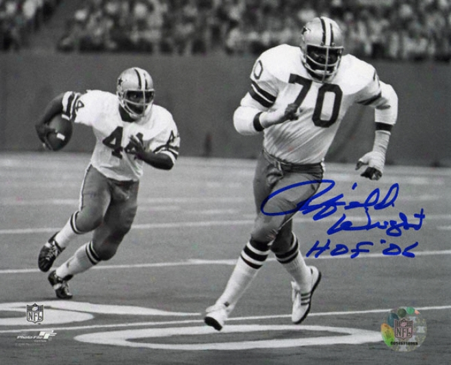 Rayfield Wright Dallas Cowboys Autographed 8x10 Photograph With Hof Inscription