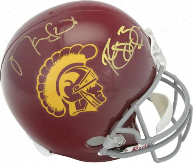 Reggie Bush And Matt Leinart Autographed Helmet  Details: Usc Trojans, Riddell Replica Helmet