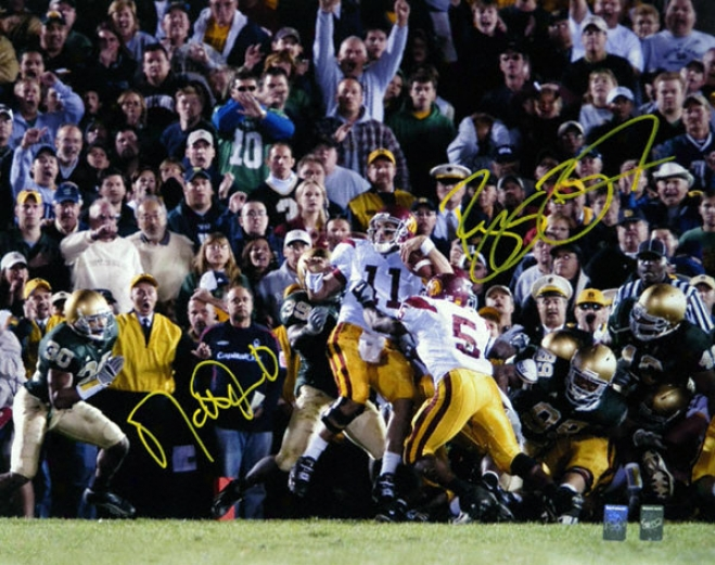 Reggie Bush And Matt Leinart Usc Trojans - The Push - Dual Autographed 16x20 Photograph