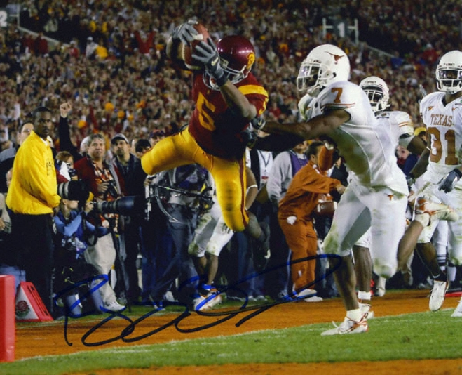 Reggie Bush Usc Trojans - Dive Intl End Zone Vs. Texas - 8x10 Autographed Photograph