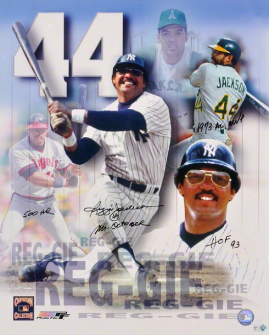 Reggie Jackson - Collage - Autographed 16x20 Photograph With Four Inscriptions