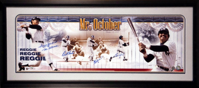 Reggie Jackson New York Yankees - 3 Pitchers From 1977 World Series - Framed Autographed Panoramic Upon 1977 World Serie sInscription