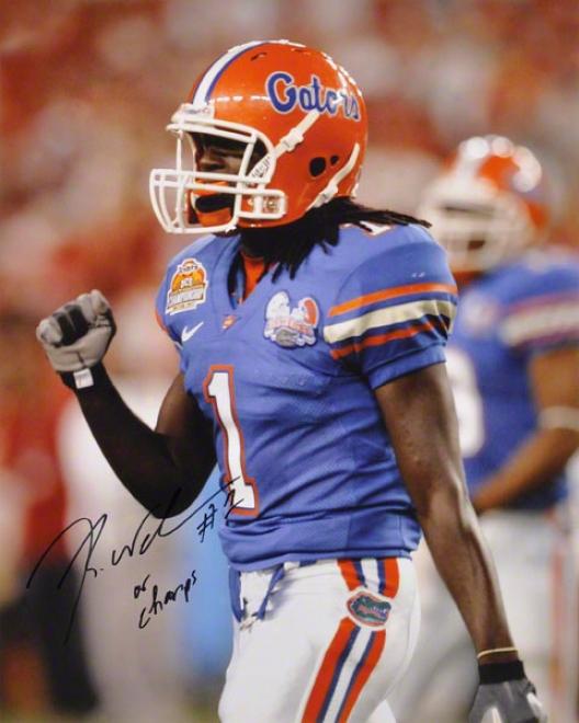 Reggie Nelson Florida Gators Autographed 16x20 Photo W/ Inscription &quot08 Champs&quot