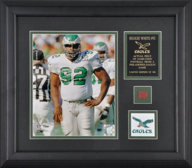 Reggie White Philadelphia Eagleq Framed 8x10 Photograph With Game Used Football Piece And Team Logo
