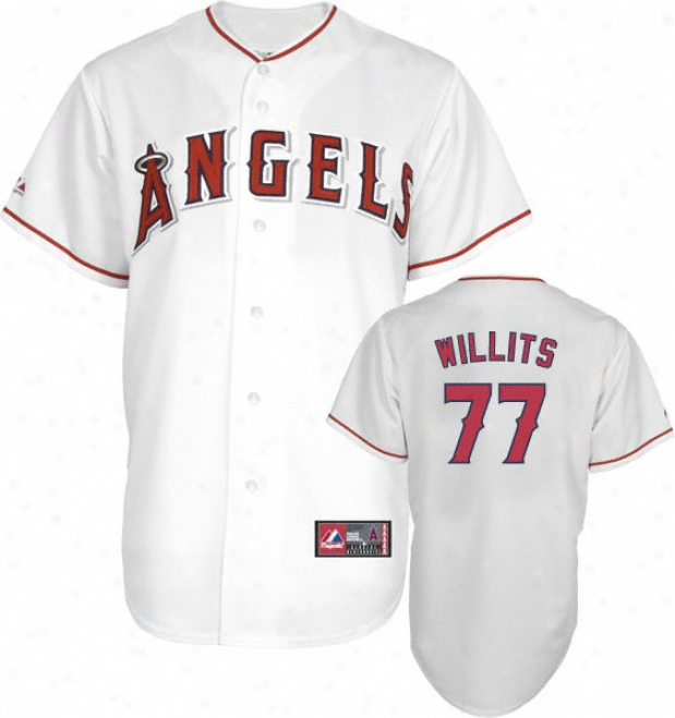 Reggie Willits Jersey: Adult Majestic Home White Replica #77 Los Angeles Angels Of Anaheim Jersey