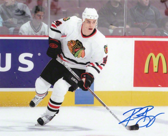 Rene Bourque Chicago Blackhawks 8x10 Autographed Photograph