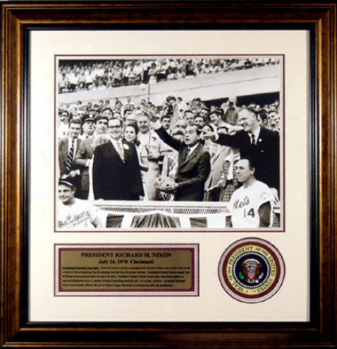 Richard Nixon Framed 16x20 Photograph With Presidential Patch