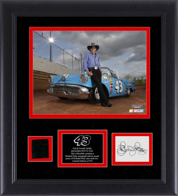 Richard Petty Framed 5x7 Photograph With Autographed Card, Race Tire And Personalized Nameplate