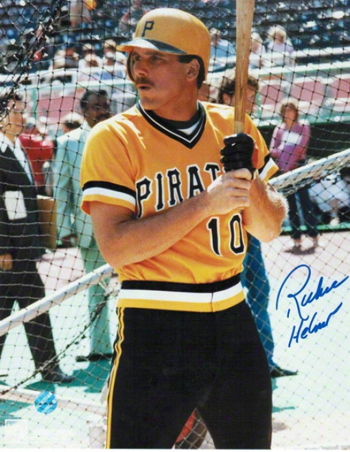 Richie Hebner Pittsburgh Pirates Autographed 8x10 Photo In The Battong Cage