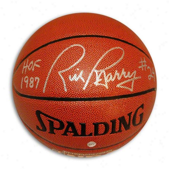 Rick Barry Autographed Indoor/outdoor Basketball Inscribed Hof 1987 & #24