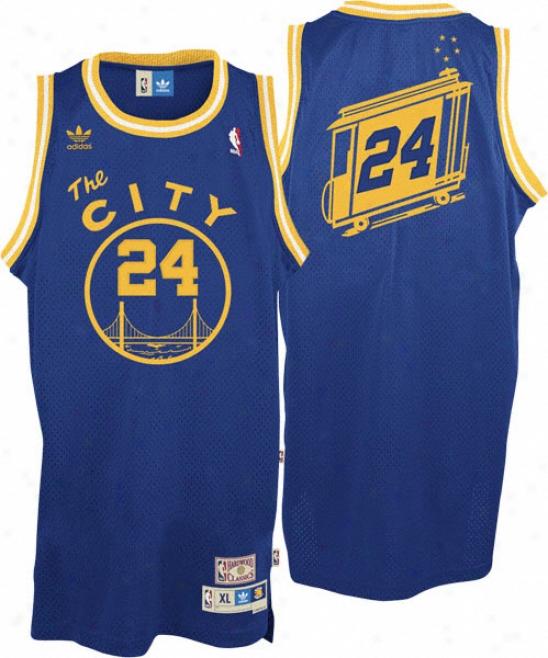 Rick Barry Jersey: Adidas Blue Throwbcak Swingman #24 Bright State Warriors Jersey
