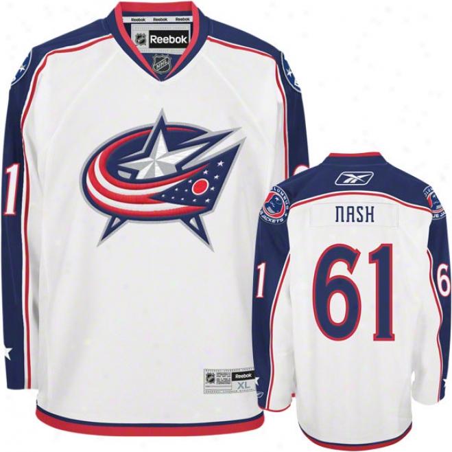 Rick Nash Jersey: Reebok White #61 Columbus Blue Jackets Premier Jersey