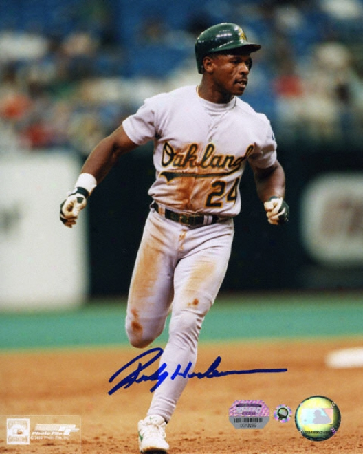 Rickey Henderson Oakland Athletics - Running - Autographed 8x10 Photograph