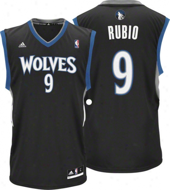 Ricky Rubio Jersry: Adidas Change 30 Black Replica #9 Minnesota Timberwolves Jersey