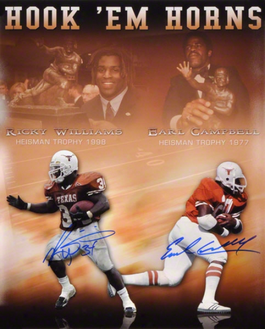 Ricky Williams & Earl Campbell Autographed 16x20 Hook Em Horns Photo