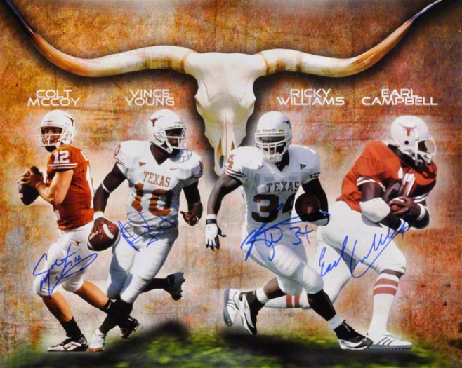 Ricky Williams, Vince Young, Colt Mccoy And Earl Campbell Texas Longhorns Autographed 16x20 Photo