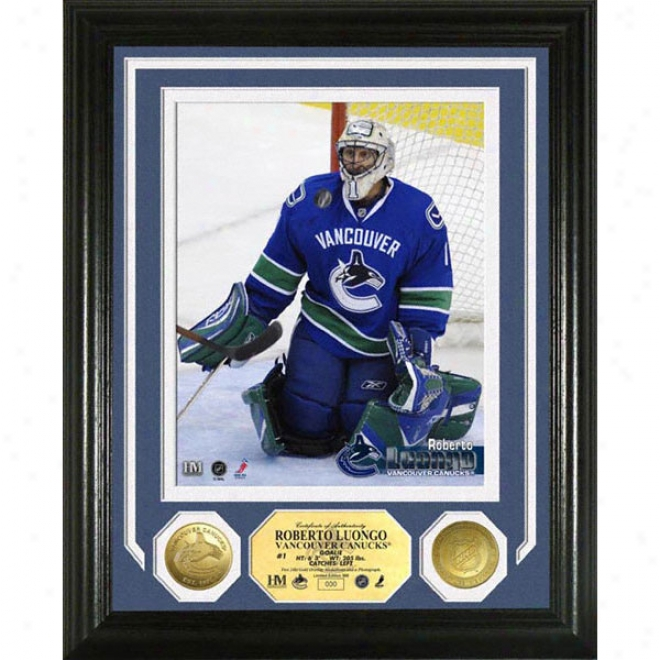 Roberto Luongo Vancouver Canucks Photomint With Gold Coins