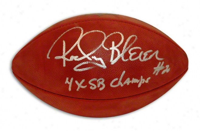 Rocky Bleier Autotraphed Nfl Football Inscribed &quot4x Sb Champs&quot