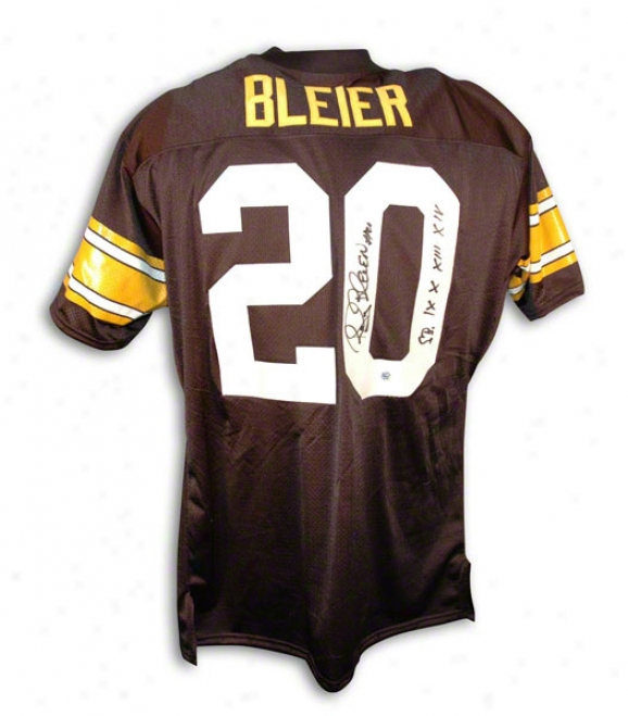 Rocky Bleier Autographed Pittdburgh Steelers Black Throwback Jersey Inscribed &quotsb Ix X Xiii Xiv&quot