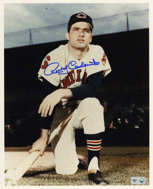 Rocky Colavito Autographed 8x10 Photograph  Details: Cleveland Indians, On One Knee
