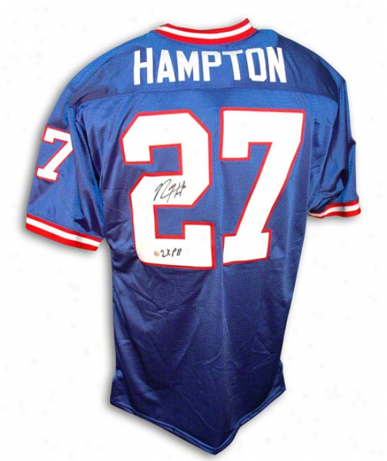 Rodney Hampton Autographed New York Giants Blue Throwback Jersey Inscribed &quot2x Pb&quot