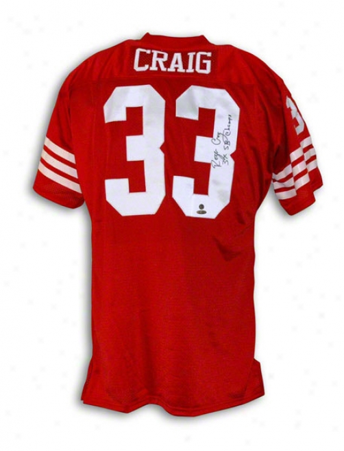 Roger Craig San Francisco 49ers Autographed Red Throwback Jersey Inscribed 3x Sb Champs