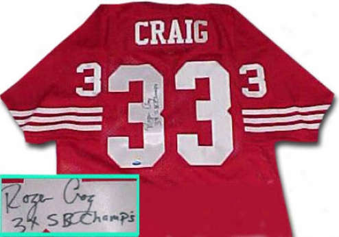Roger Craig San Francisco 49ers Autographed Throwback Red Jersey