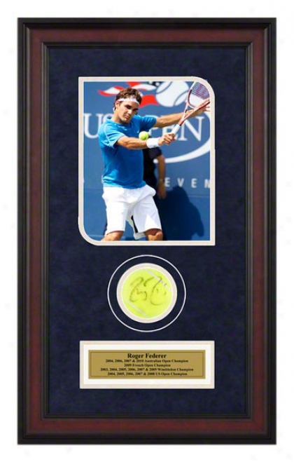 Roger Federer 2006 Us Open Framed Autographed Tennis Ball Upon Photo