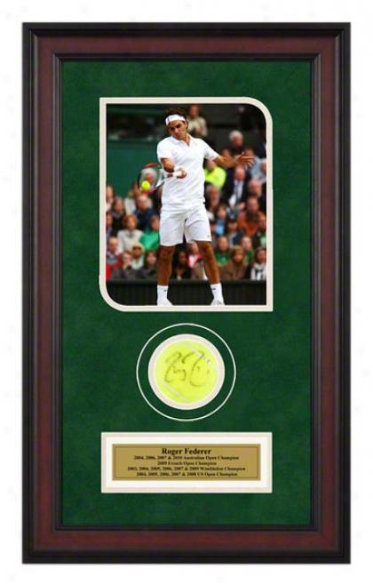 Roger Federer 2008 Wimbledon Match Framed Autographed Tennis Ball With Photo