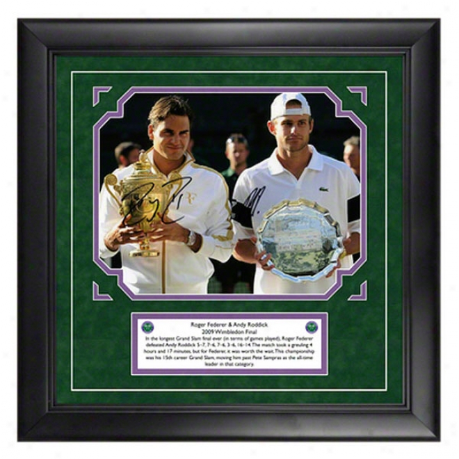 Roger Federer And Andy Roddick Autographed Wimbledon Framed Photograph