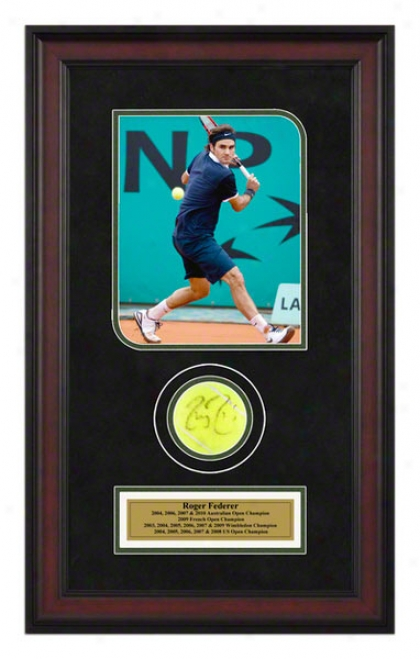 Roger Federer French Open Framed Autographed Tennis Ball With Photo