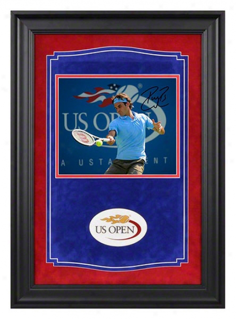 Roger Federer Signed 2010 Us Open Autographed Framed Photograph