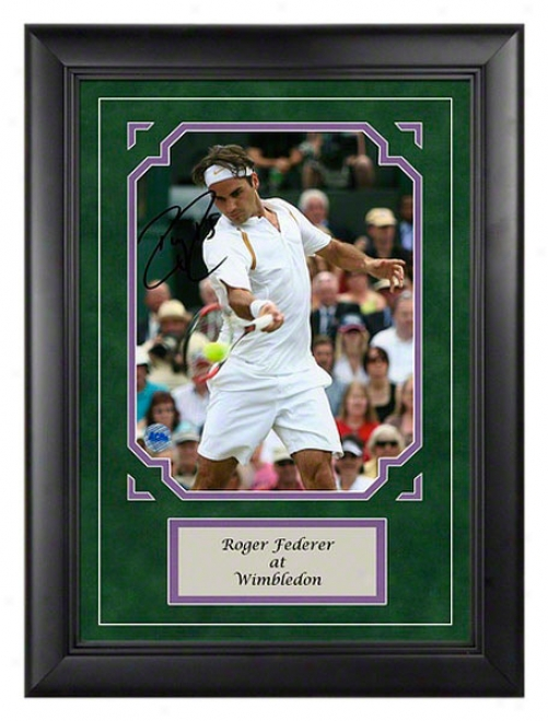 Roger Federer Wimbledon Autographed Framed Photograph