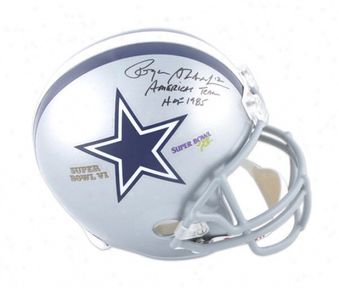 Roger Staubach Autographed Helmet  Details: Dallas Cowboys, Sb Vi And Xii, Hof 1985 And America's Team Inscription, Riddell Replica Helmet