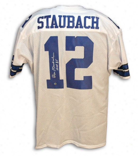 Roger Staubach Autographed White Throwback Jersey With ''sb Vi Mvp'' Inscription