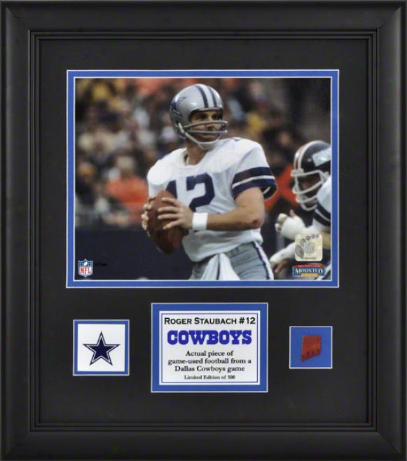Roger Staugach Frwmed 8x10 Photograph  Details: Dallas Cowboys, With Game Used Football Piece And Descriptive Plate