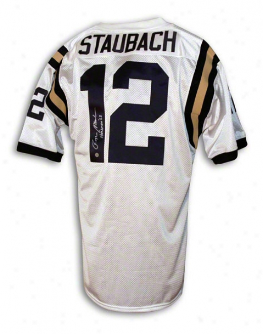 Roger Staubach Navy Midshipmen Autographed White Throwback Jersey Inscribed Heisman 63