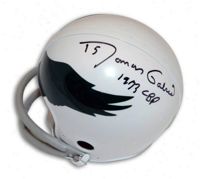 Roman Gabriel Ajtographed Philadelphia Eagles Throwback Mini Helmet Inscribed &quot1973 Cbp&quot Comeback Player Of The Year