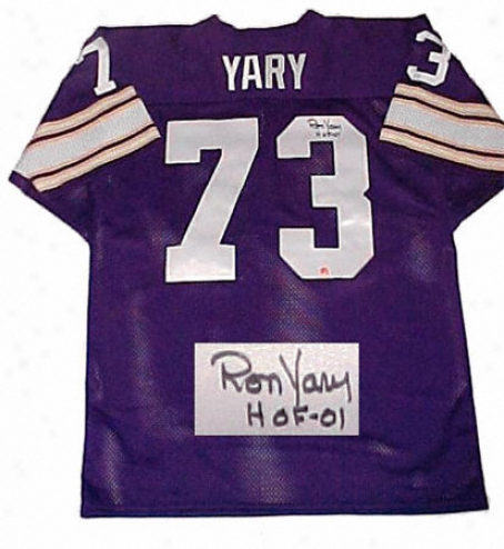 Ron Yar yMinnesota Vikings Autographed Purple Throwback Jersey With Hof 01 Inscription