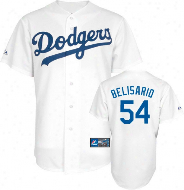 Ronald Belisario Jersey: Adult Majestic Home White Replica #54 Los Angeles Dodgers Jersey