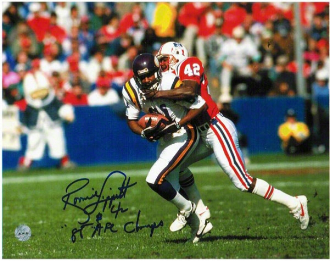 Ronnie Lippett New England Patriote Autographed 8x10 Photograph By the side of 86 Afc Champs Inscription