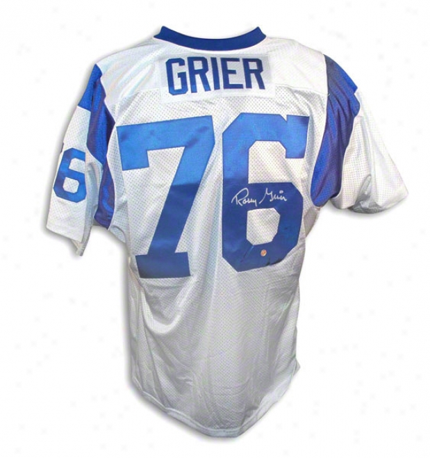 Rosey Grier Autographed Los Angeles Rams White Throwback Jersey