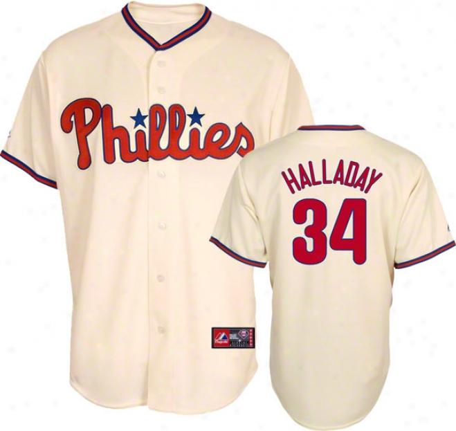 Roy Halladay Jersey: Adult Majestic Altrrnate Ivory Autograph copy #34 Philadelphia Phillie sJersey