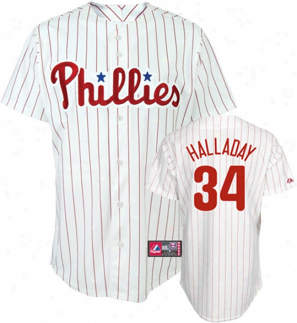 Roy Halladay Jersey: Adult Majestic Home White Autograph copy #34 Philadelphia Pjillies Jersey