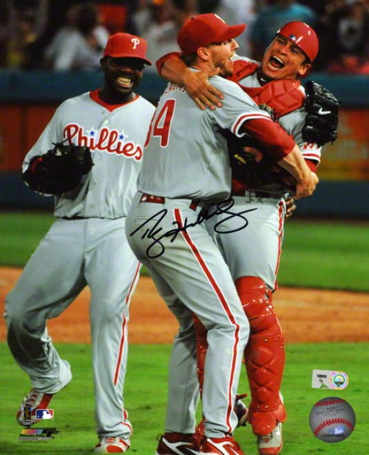Roy Halladay Philadelphia Phillies - Perfect Sport Celebration - Autographed 8x10 Photograph Signed In Blue